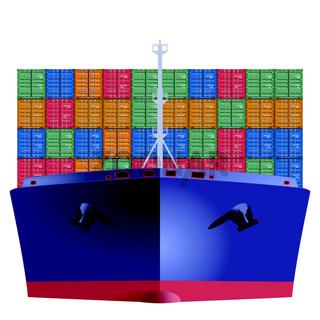 Containerschiff von vorn.eps