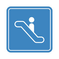 Escalator go down with simple man icon, detailed blue icon on the white background