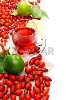 Vitamin tea with rose hips and lemon.