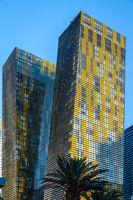 View at sunrise of apartment blocks in Las Vegas