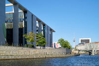 Government district in Berlin with the Marie-Elisabeth-Lueders-Haus at the river Spree