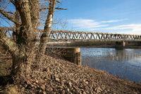 Railroad bridge Herrenkrugbrücke over the river Elbe in Magdeburg in Germany
