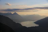 Mount Niesen and Lake Thun at sunset.