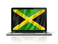 Jamaican flag on laptop screen isolated on white. 3D illustration