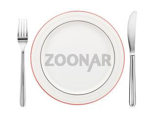Tischgedeck mit Teller, Messer und Gabel
