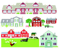 Farm houses and country houses, illustration isolated