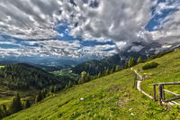 Trail by mountain and valley in beautiful nature