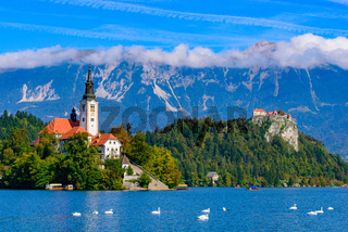 Bled Island on Lake Bled, a popular tourist destination in Slovenia