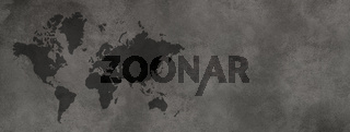 World map on black concrete wall background. Horizontal banner
