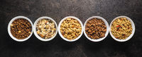 Various breakfast cereals. Morning granola in bowl.
