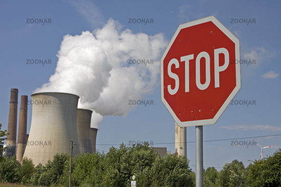 Power station Weisweiler with stop sign