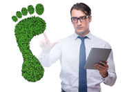 Ecology concept with green footprint and businessman
