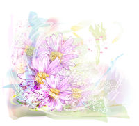 watercolor background with chrysanthemums