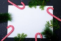 Composition of card with copy space framed with tree branches and candy canes on black background