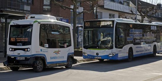 Autonomous electric bus in road traffic, Monheim am Rhein, North Rhine-Westphalia, Germany, Europe