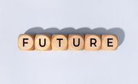 Future word on wooden block isolated on gray background