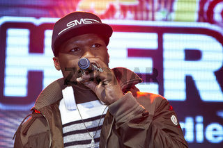 50 Cent, US-Rap star, at autograph session in Berlin.