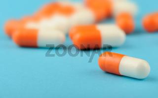 set capsules on blue background