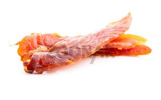 Dried chicken meat. Tasty jerky meat.