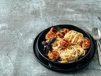 Zucchini Parmesan Meatballs with Pasta Carbonara