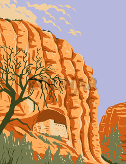Mogollon Cliff Dwellings in Gila Cliff Dwellings National Monument Located in the Gila Wilderness New Mexico WPA Poster Art
