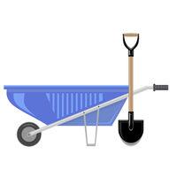 Blue Wheelbarrow and Garden Shovel Isolated on White Background