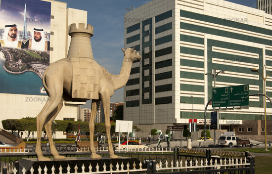 Camel statue with a chess rook, Dubai