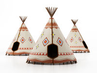 Indian tents isolated on white background. 3D illustration