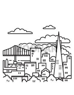 San Francisco Downtown Skyline with Golden Gate Bridge in the Bay Area California USA Mono Line Art Poster
