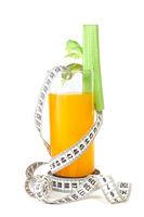 Orange juice and measuring tape