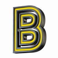 Yellow black outlined font Letter B 3D