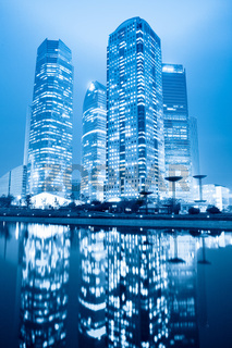 night scene of shanghai financial center greenbelt
