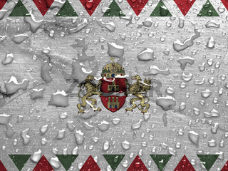 flag of Budapest, Hungary with rain drops