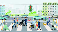 Zebra crossing with road traffic and traffic lights with pedestrians, illustration