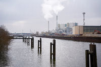 Industrial port in the north of the city of Magdeburg