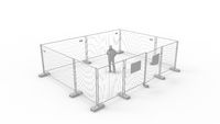 3D rendering of a man standing in isolation quarantine empty space.