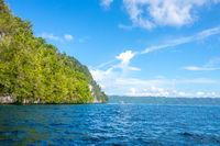 Sunny Rocky Shores with Rainforest and Yacht in the Distance