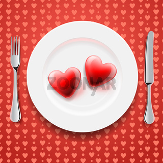 Red hearts on a plate, Valentine's Day
