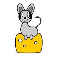 Mouse sits on cheese