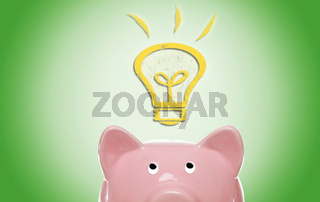 Piggy bank with idea light bulb