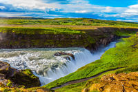Picturesque Gullfoss on the Hvitau River