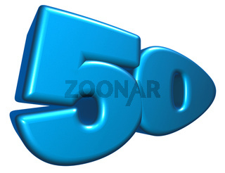 nummer fünfzig im cartoonstyle - 3d illustration
