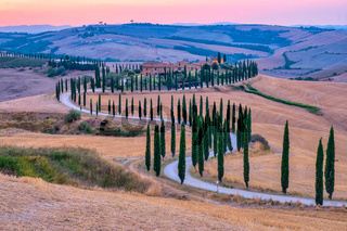 Tuscany landscape with grain fields, cypress trees and houses on the hills at sunset. Summer rural landscape with curved road in Tuscany, Italy, Europe, Italy, Agriturismo Baccoleno