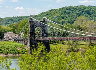 Suspension bridge over the Ohio river in Wheeling, WV