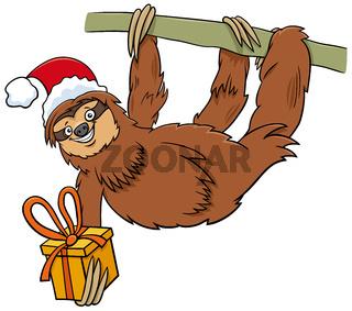 cartoon sloth animal character with gift on Christmas time