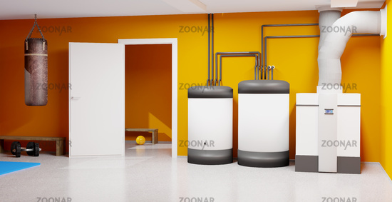 3D illustration with the heating system