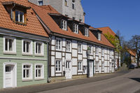 Half-timbered houses at the old town, Soest, North Rhine-Westphalia, Germany, Europe