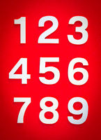 Mathematics background made with solid numbers. Isolated on red