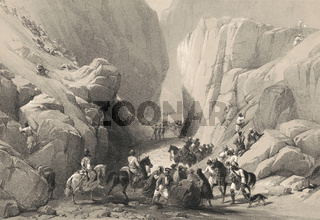Bolan Pass from Dadur, Toba Kakar range, Balochistan, Pakistan, First Anglo-Afghan War, sketch by James Atkinson, 1840