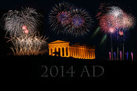 fireworks with greek Temple in Agrigento Sicily It